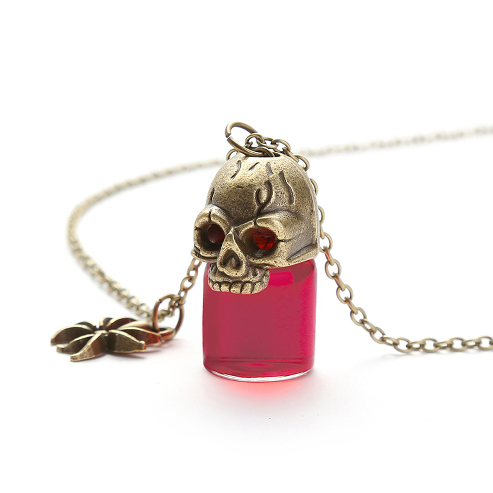 Women's Necklace Gothic Style Glass Bottle Pendant Gronze Necklace red