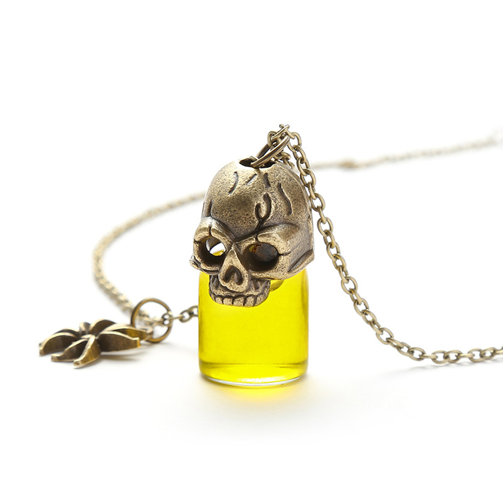 Women's Necklace Gothic Style Glass Bottle Pendant Gronze Necklace yellow
