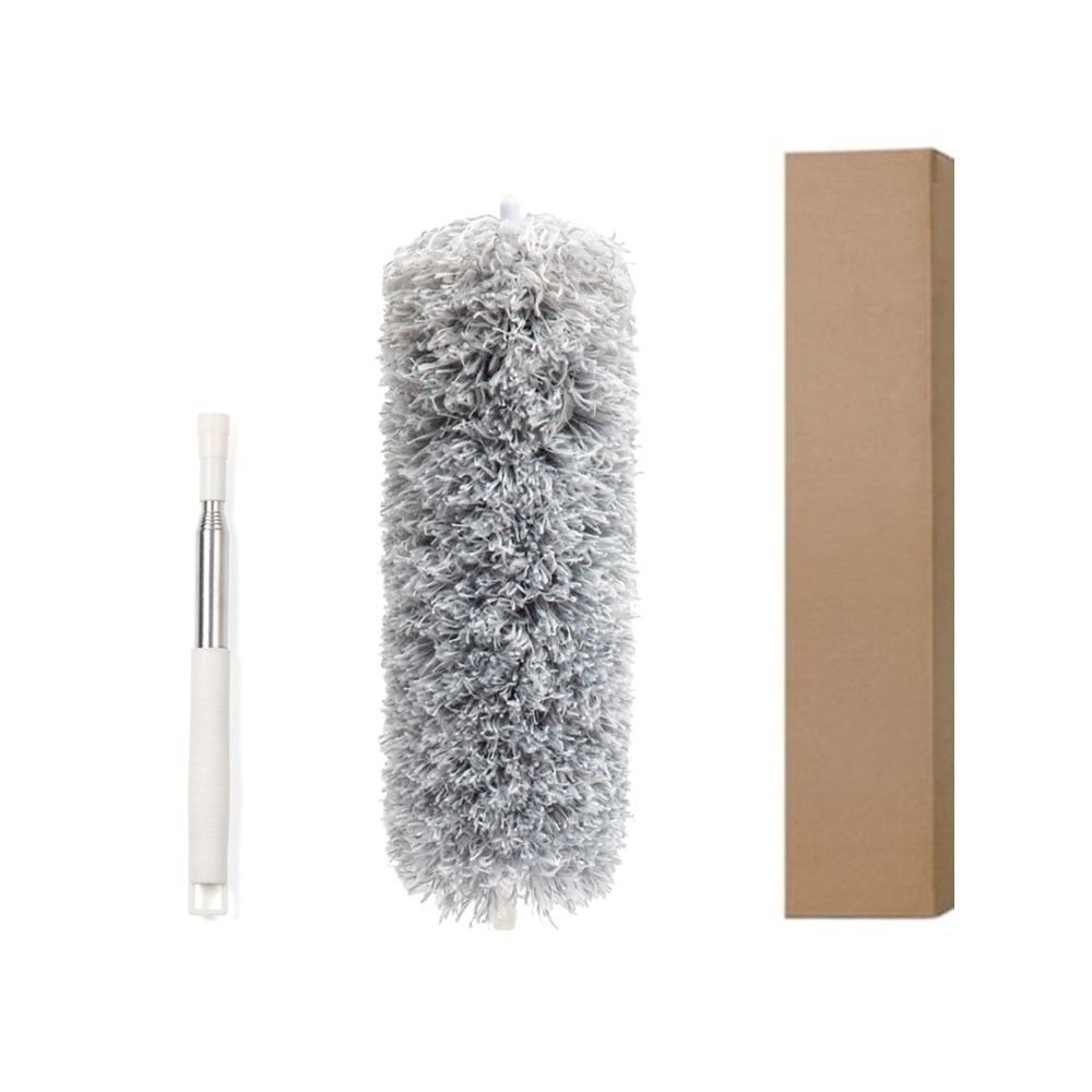 2.5m Microfiber Telescopic  Brush Household Dust Cleaning Tool Ceiling Duster 1.3m, gray and white gypsophila, packed in kraft carton