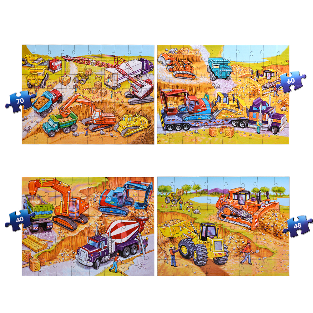 [US Direct] Interesting 4-in-1 City Puzzle Funny Gift for Children Kids