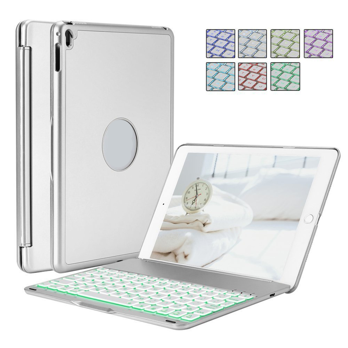 10.5inch Wireless Bluetooth Keyboard for iPad Pro 10.5/ iPad Air3 Colorful Backlit Silver grey