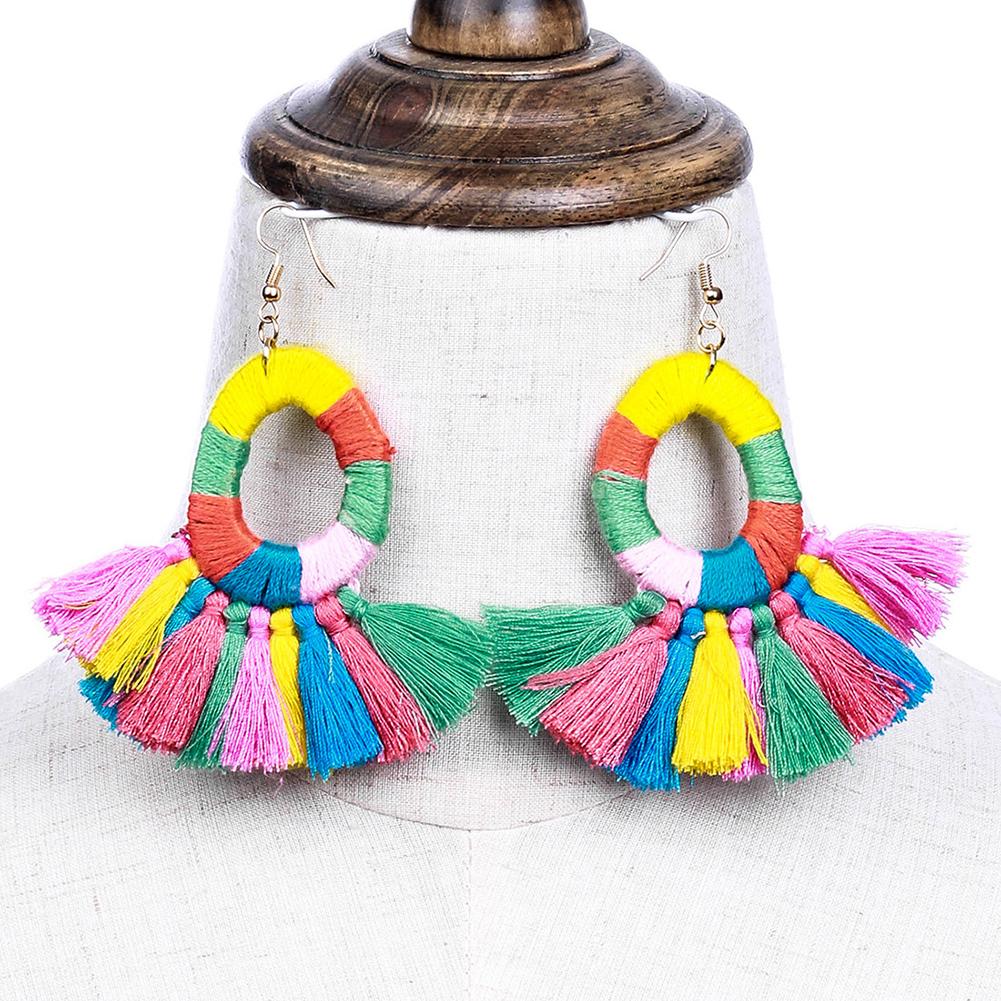 Boho Colorful Fan-shaped Tassel Earrings Handmade Big Ring Long Drop Earrings Women Jewelry