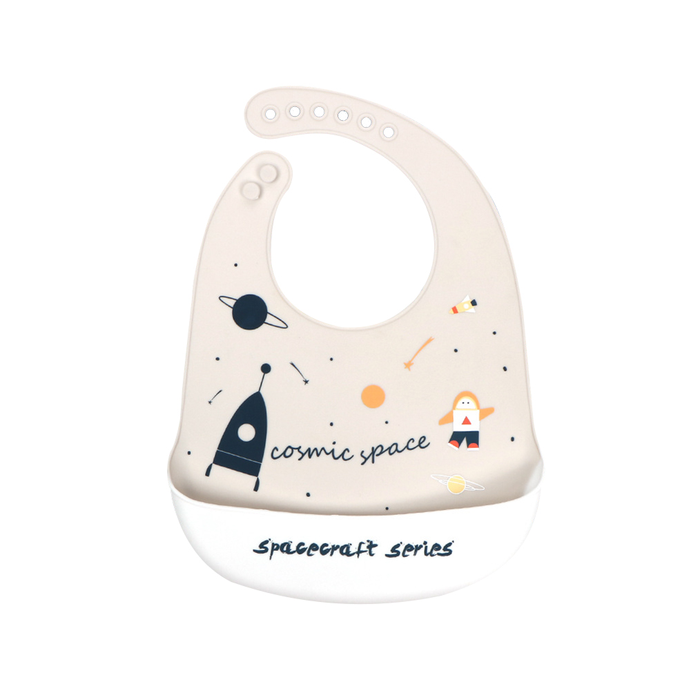 Silicone Baby Bib Adjustable Fit Waterproof Baby cartoon silicone bib spacecraft