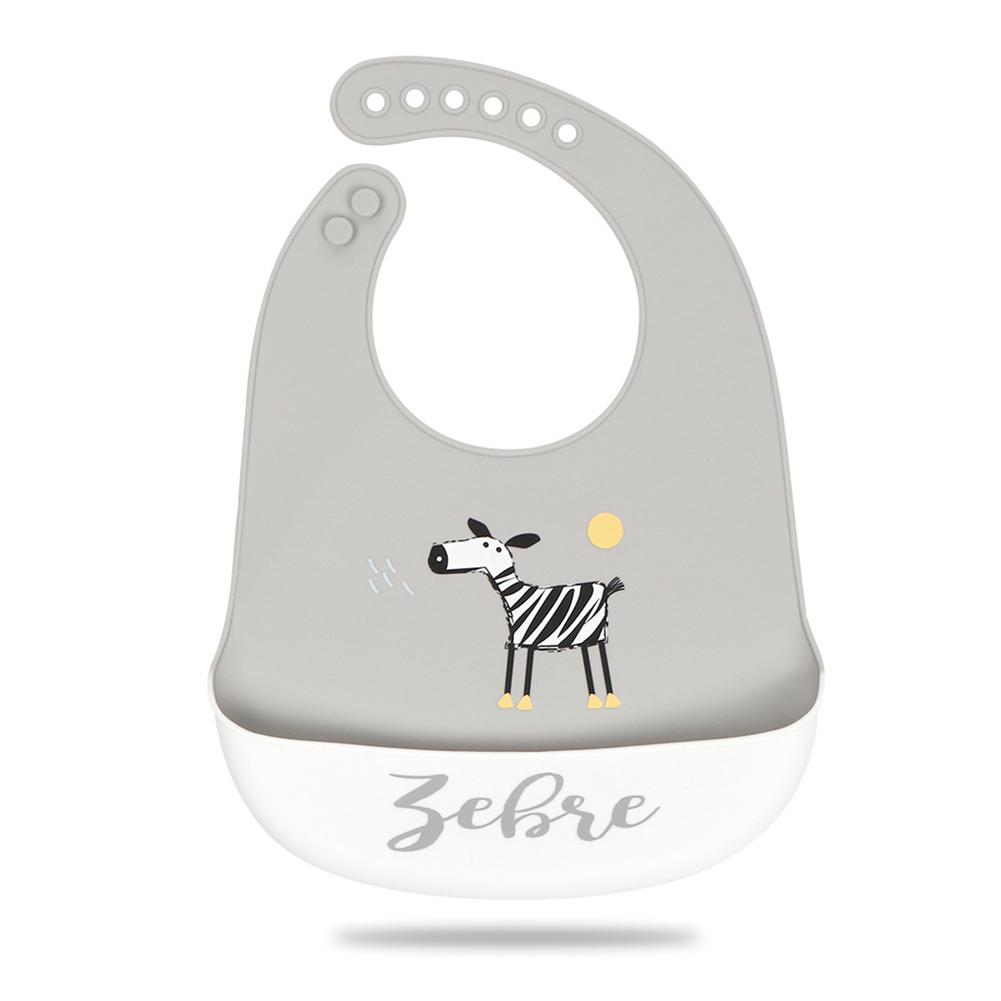 Silicone Baby Bib Adjustable Fit Waterproof Baby cartoon silicone bib Cute zebra