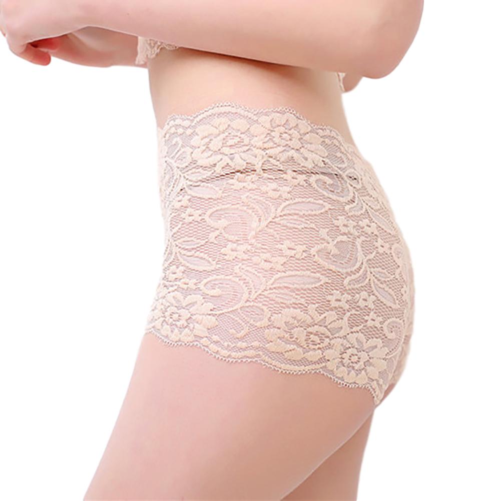 Women's Underpants Lace Sexy Lingerie See-through Large Size Boxer Briefs apricot_L