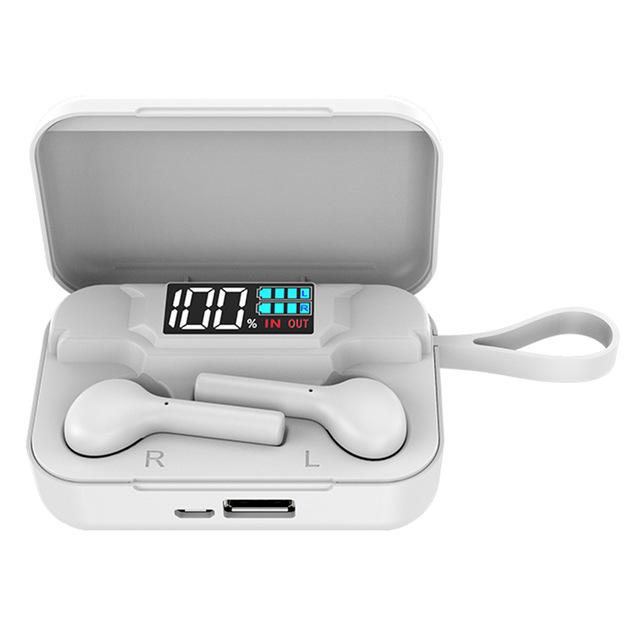 K18 Wireless Bluetooth  5.0  Earphones Portable Sports Earphones With Led Digital Display Charging Box white