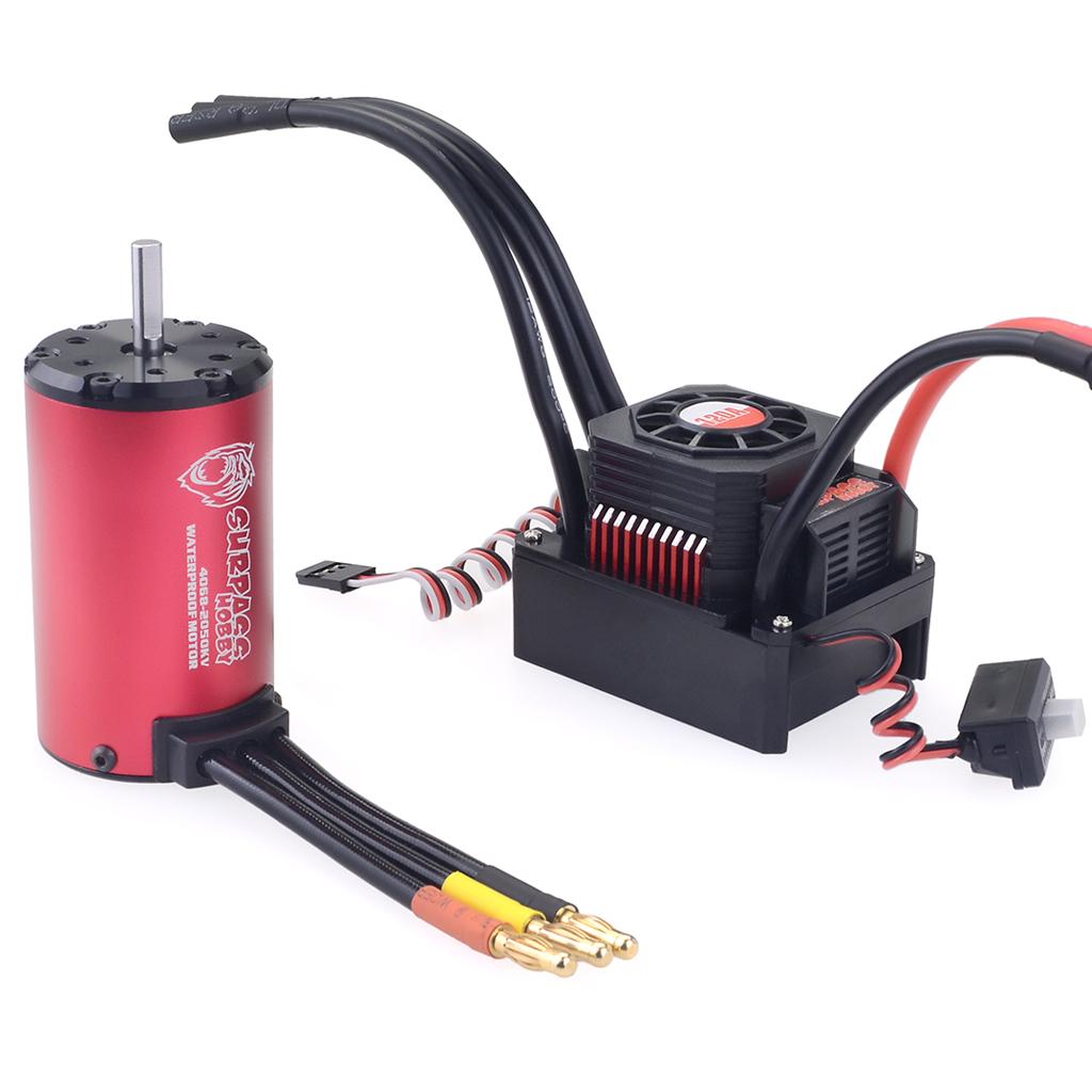 2pcs/set RC 4068 2050KV  Brushless Waterproof Sensorless Motor with 120A Brushless ESC for 1/8 RC Car Truck red