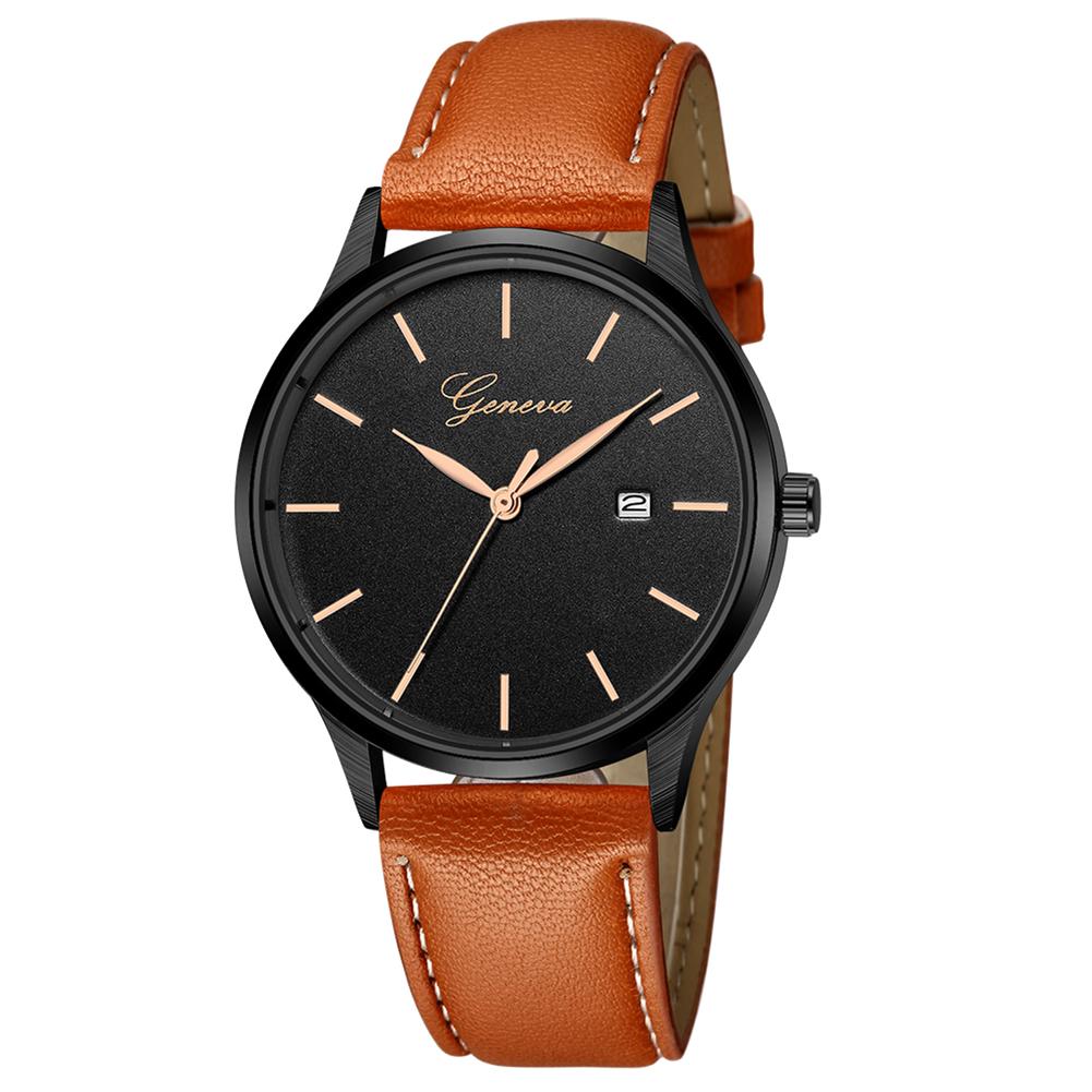 Unisex Concise Classic Luxury Quartz Watch with Calendar Leather Strap Wrist Watch