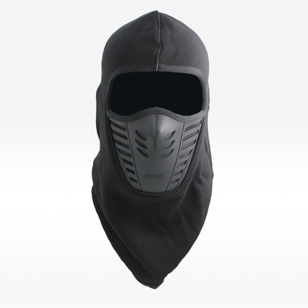Unisex Bicycle Thermal Winter Warm Hat Windproof Motorcycle Face Mask Hat Neck Helmet Beanies black_One size