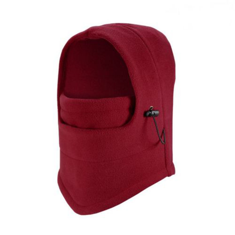Thermal Warm Fleece Balaclava Bike Bicycle Cycle Face Mask Snood Hood Neck Scarf Red wine_One size