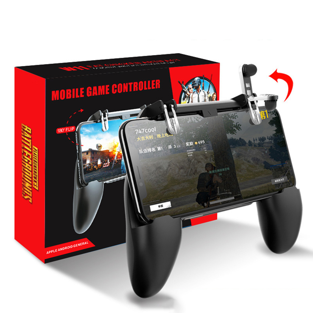 3 in 1 PUBG Mobile Gamepad Trigger Control Cell Phone Game Pad Controller L1R1 Gaming Shooter for iPhone Android Joystick black