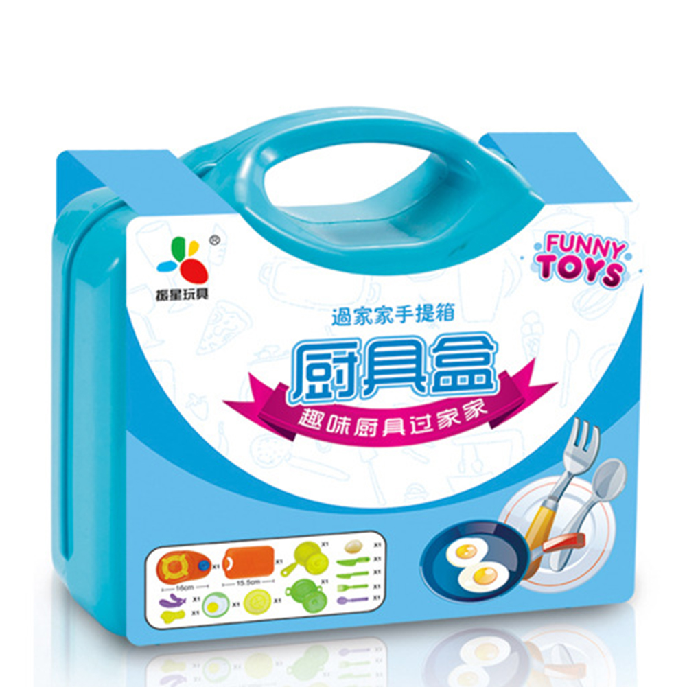 13Pcs/set Kitchen Pretend Play Children Simulation Cooking Tableware with Suitcase Kids Educational Toy