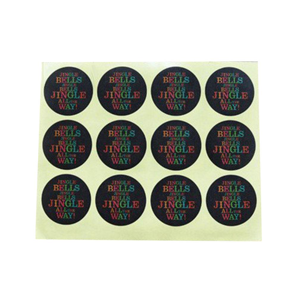 12Pcs/Sheet Santa Claus Kraft Paper Sticker Merry Christmas Jingle Bell Seal Sticker DIY Paper Label