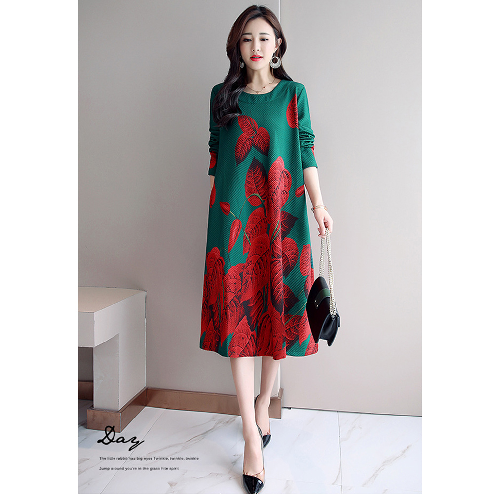 Loose Large Size Dress with Floral Printed Long Sleeves Dress for Woman green_3XL