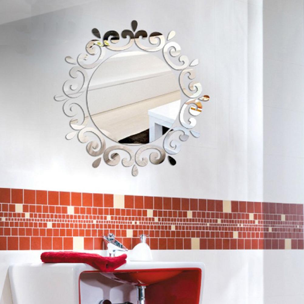 High Grade Creative 3D Mirror Wall Sticker Room Decal Mural Art DIY Home Decoration Silver