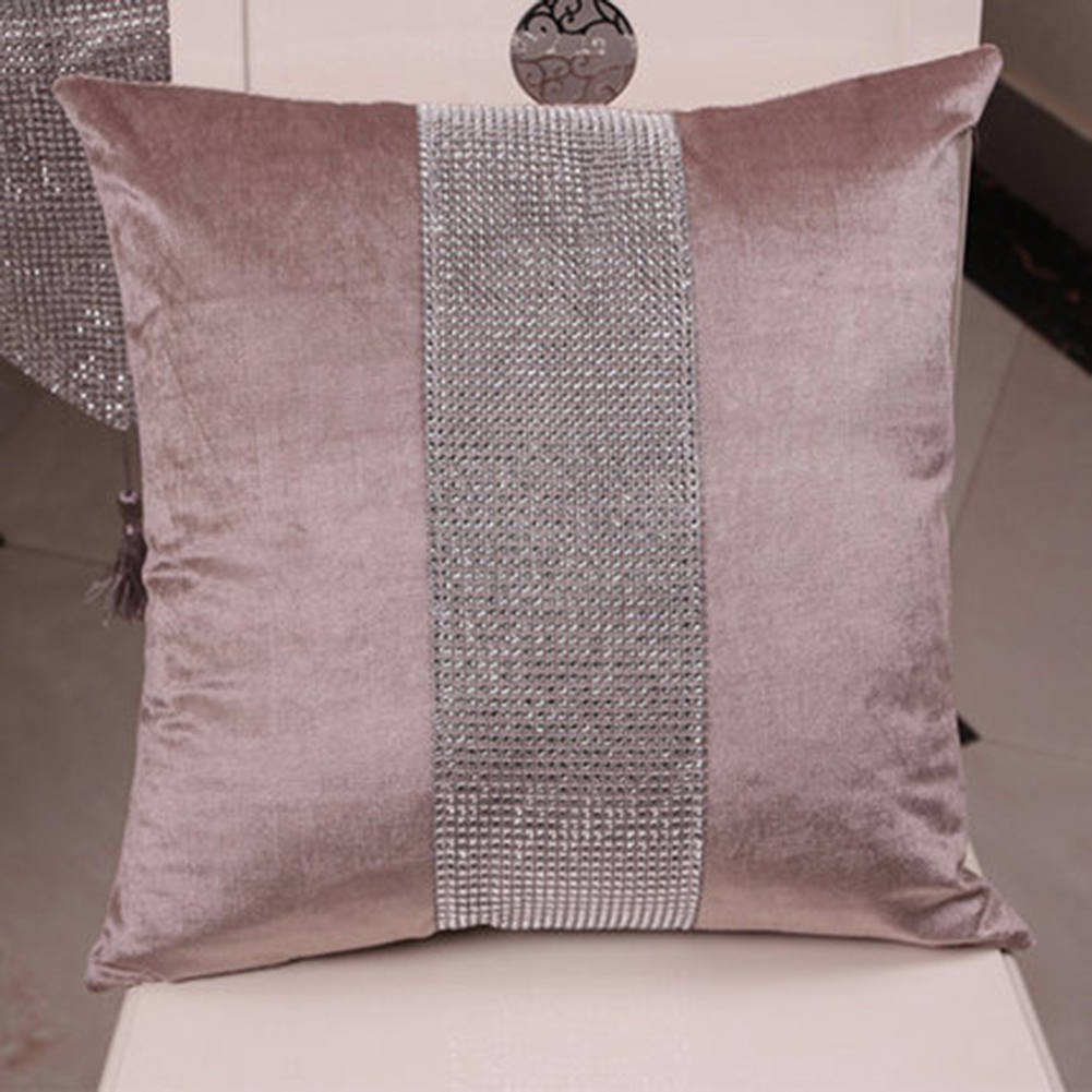 Stylish Graceful Velvet Throw Pillow with Diamond Chain Soft Sofa Cushion Decoration Modern Pillowcase champagne_45 * 45cm