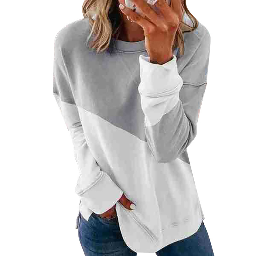 Women's Hoodie Autumn Casual Crew-neck Contrast Stitching Loose Hooded Sweater Contrast_M