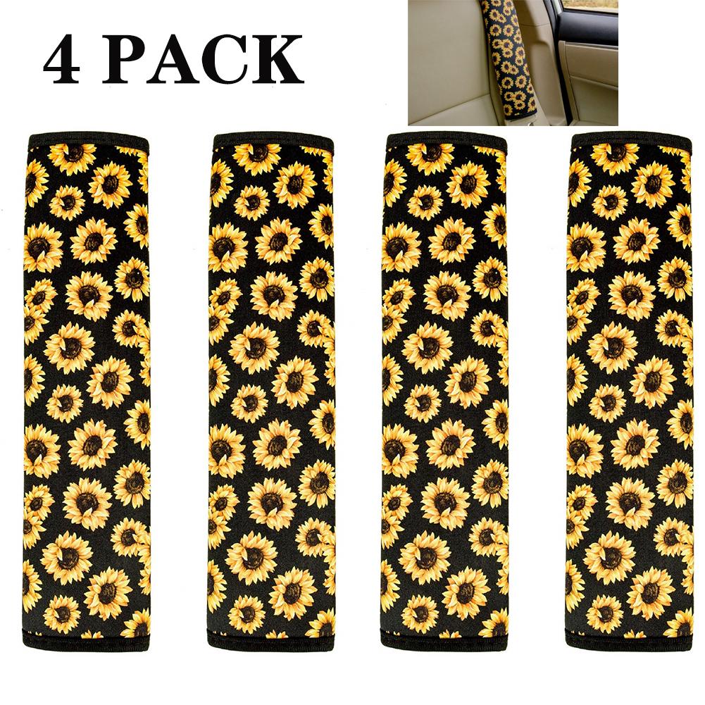 Sunflower Seat Belt Shoulder Pads  Car Accessories for Women Girl 4pcs