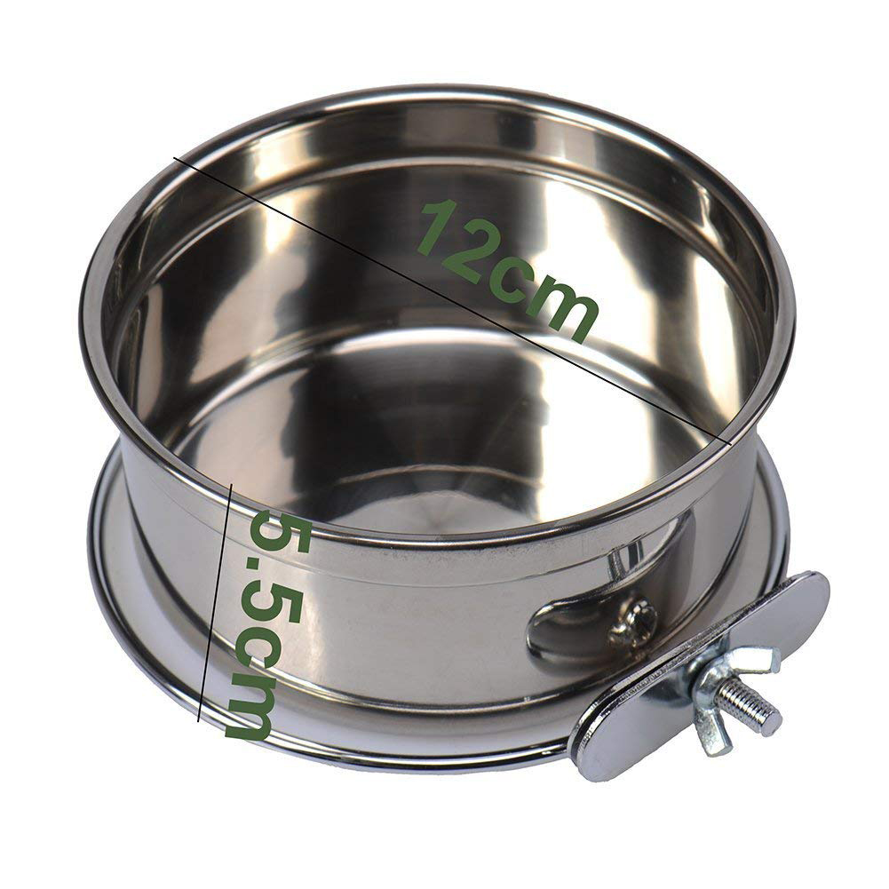 Stainless Steel Pet Parrot Food Water Bowl Fixed Feeding Basin for Pet Birds Medium (calibre 12cm)
