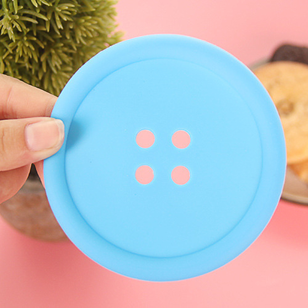 Cute Thermal Insulation Round Button Shape Silicone Placemat Coaster for Mug Glass blue
