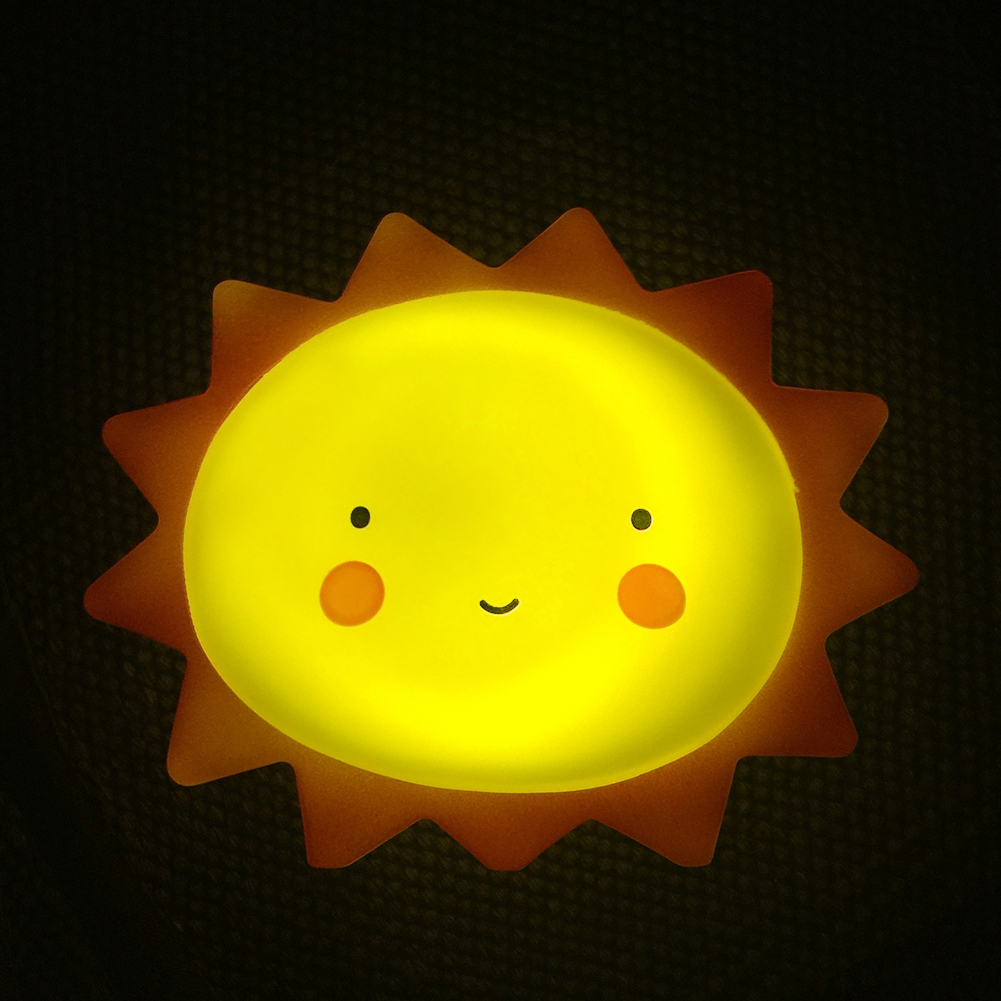 Cute Sun Smile Face Soft Vinyl LED Night Light Toy for Baby Kids Bedroom Home Decoration Nursery Lamp