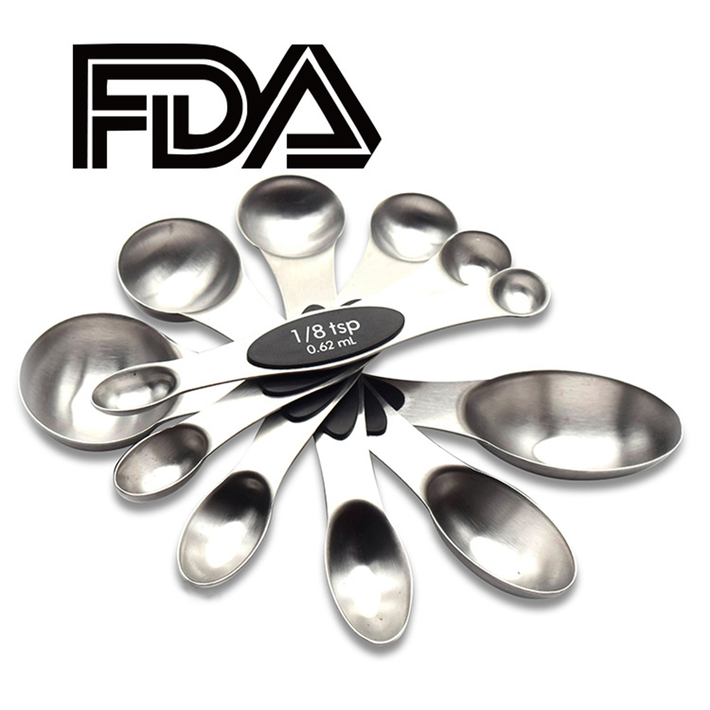 6PCS Stainless Steel Double Head Measuring Spoon with Scale Magnetic Storage Design 6pcs black