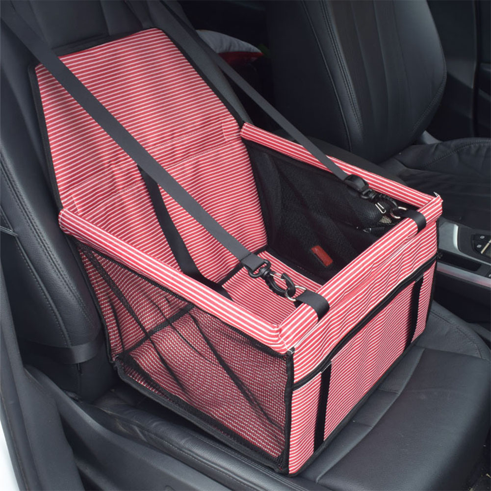 Pet Car Booster Seat Travel Carrier Cage, Oxford Breathable Folding Soft Washable Travel Bags for Dogs Cats or Other Small Pet  Black white_Red Stripe