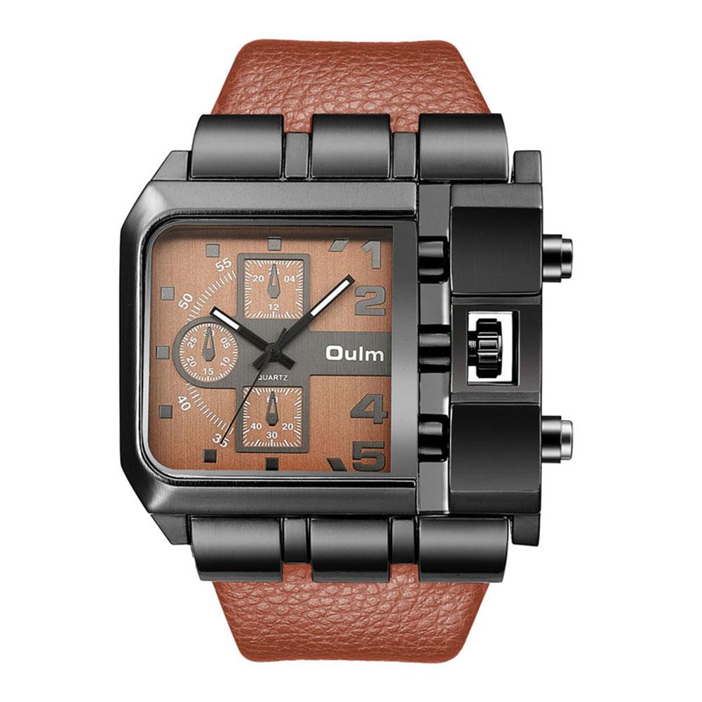 Fashion Rectangle Watch Quartz Movement Casual Wristwatch  coffee