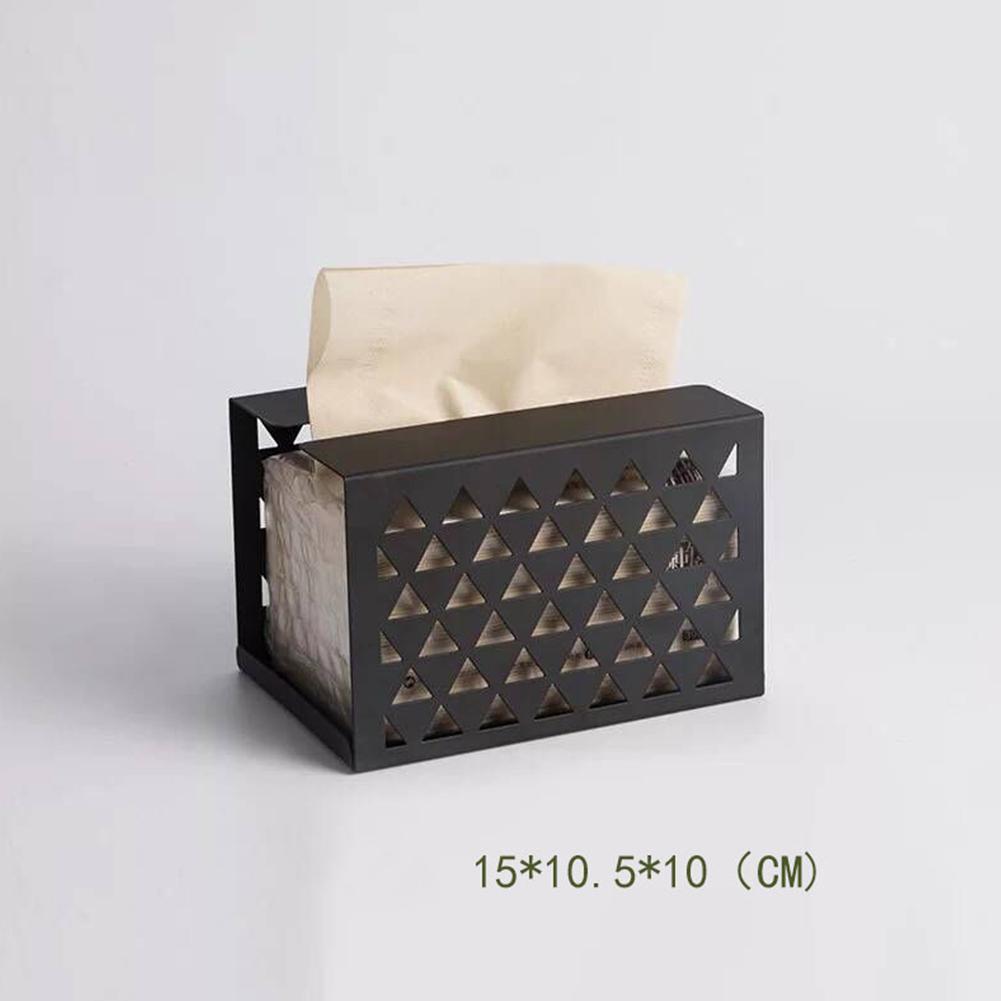 Iron Tissue Box Simple Desktop Storage for Home Living Room Office black