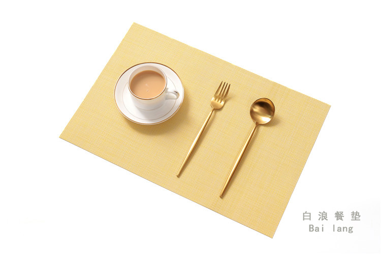 Home Waterproof Thicken Heat Insulation Placemat for Dining Table Light yellow_Rectangular 30*45CM