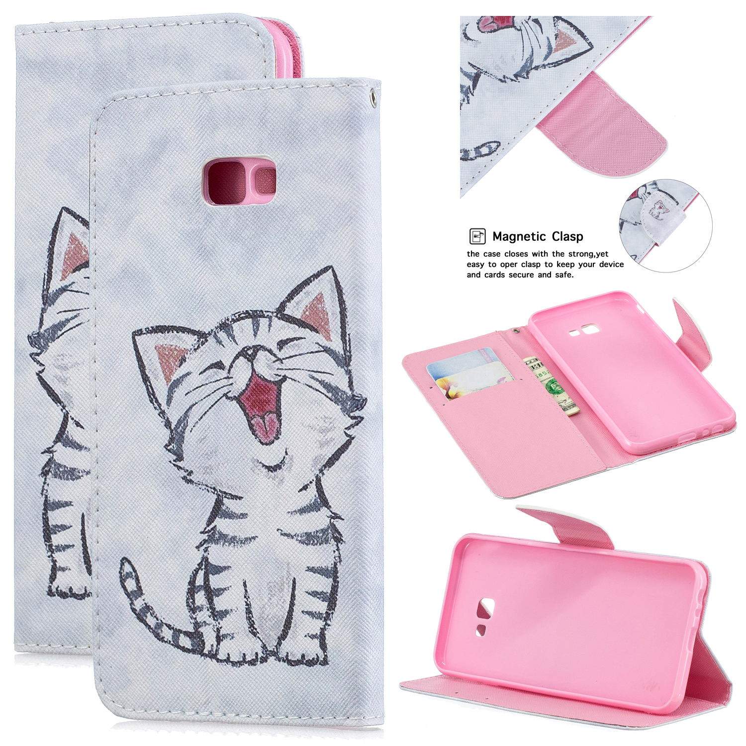 For Samsung J4 Plus/J6 Plus Cartoon Phone Shell Delicate Smartphone Case PU Leather Overall Protective Wallet Design Red lip cat