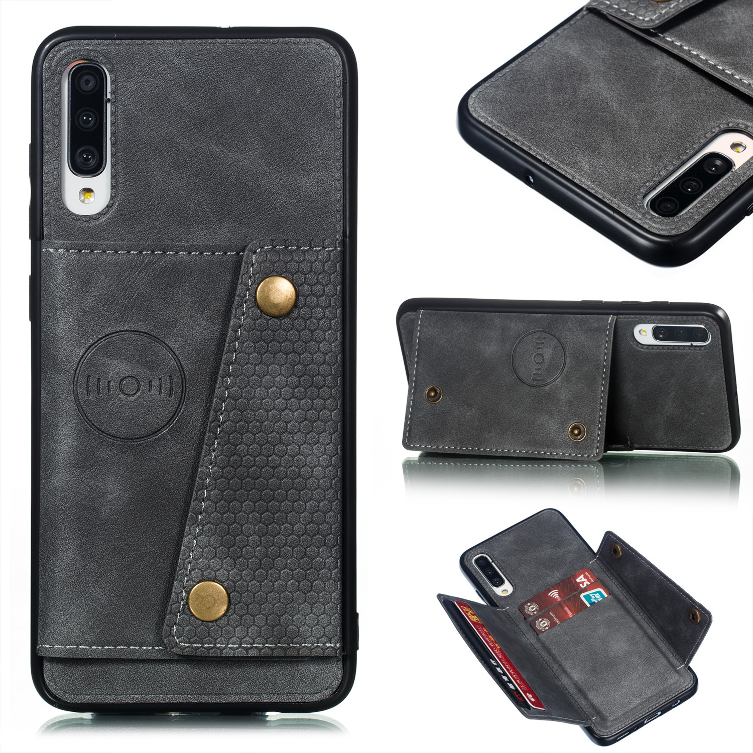 For Samsung A70 Double Buckle Non-slip Shockproof Cell Phone Case with Card Slot Bracket gray