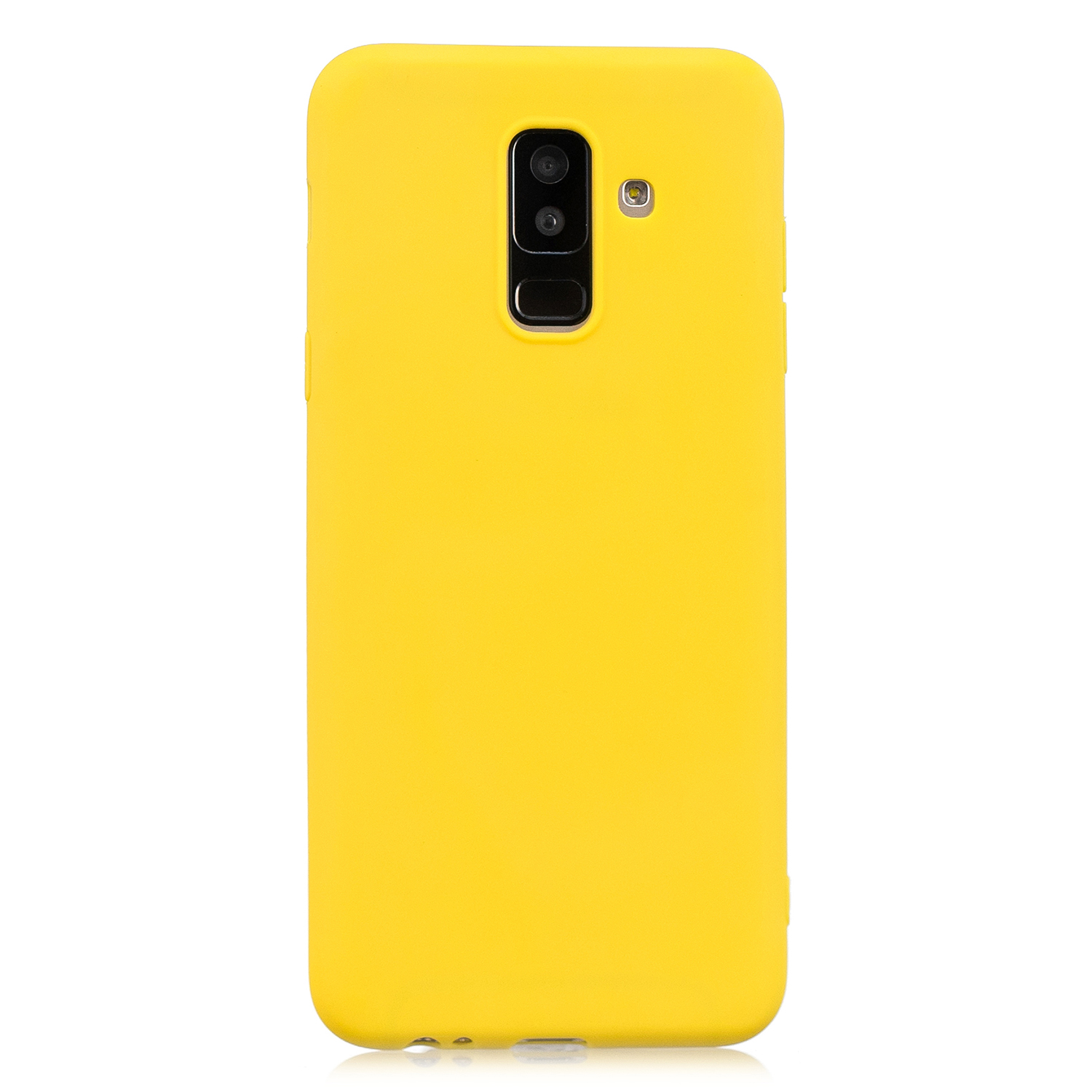 for Samsung A6 plus 2018 Lovely Candy Color Matte TPU Anti-scratch Non-slip Protective Cover Back Case yellow