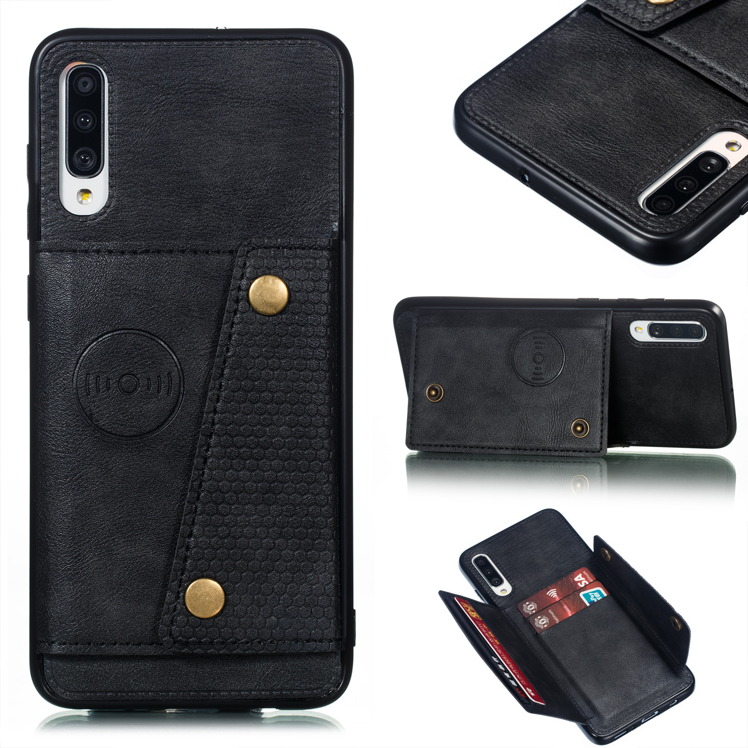 For Samsung A70 Double Buckle Non-slip Shockproof Cell Phone Case with Card Slot Bracket black
