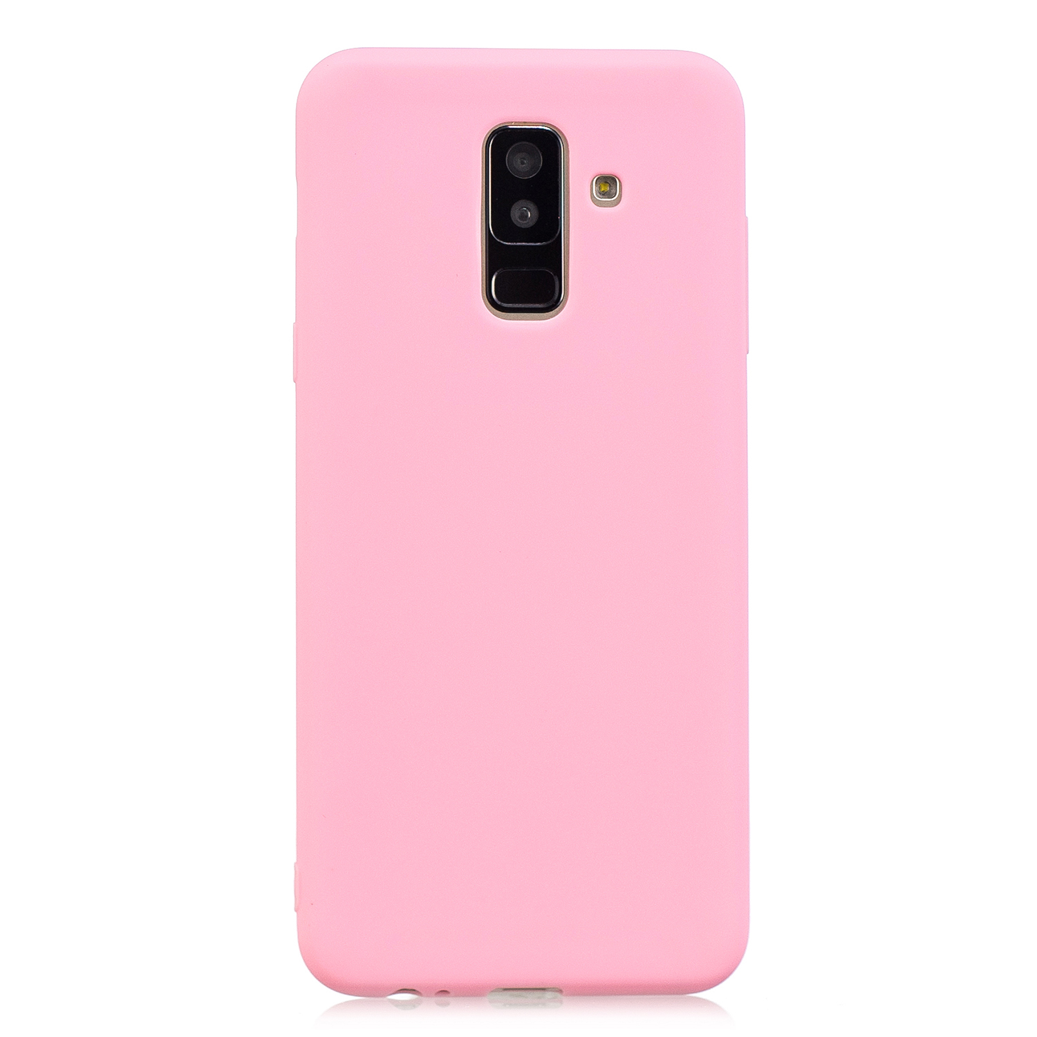 for Samsung A6 plus 2018 Lovely Candy Color Matte TPU Anti-scratch Non-slip Protective Cover Back Case dark pink