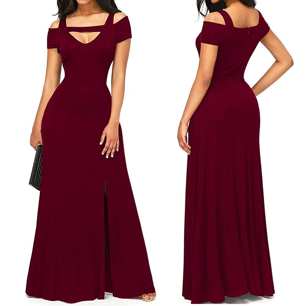 Women Sexy V-Neck Long Slit Dress Big Hem Solid Color Slim Waist Dress