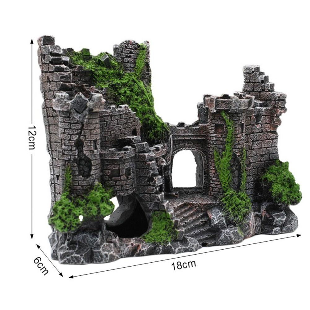 Resin Artificial Ancient Castle Decoration Aquarium Rock Cave Building Landscaping Ornament As shown