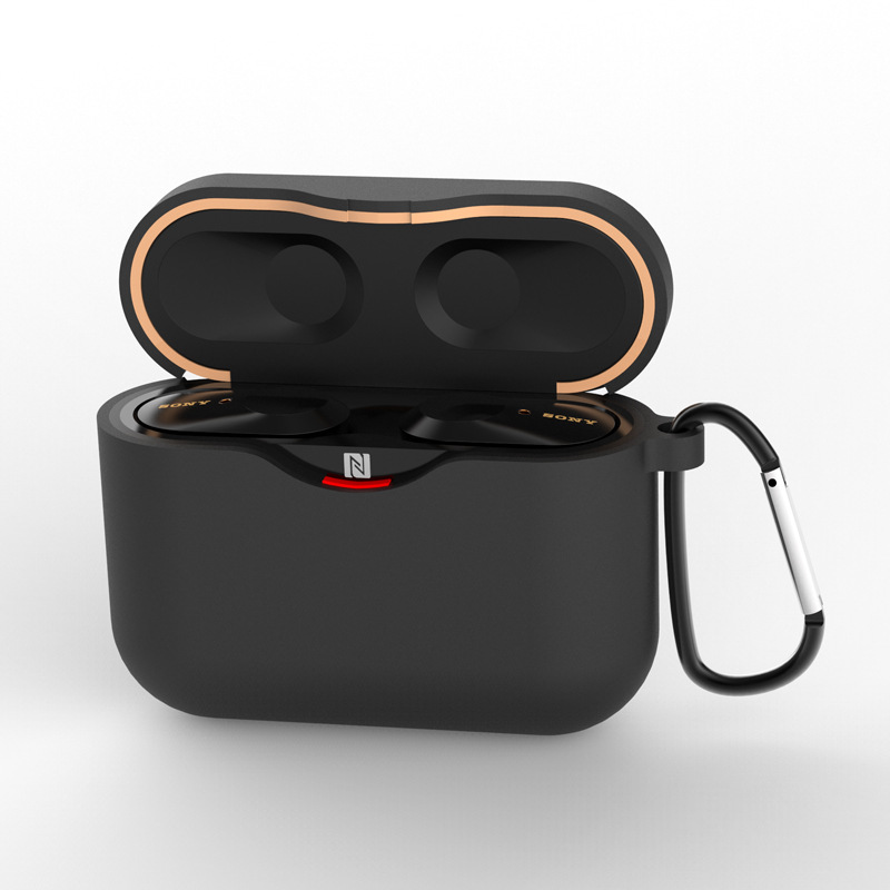 Silicone Case for SONY WF-1000XM3 Bluetooth Earphone Charging Box Cover Soft Shell with Anti-lost Hook black_for SONY WF-1000XM3