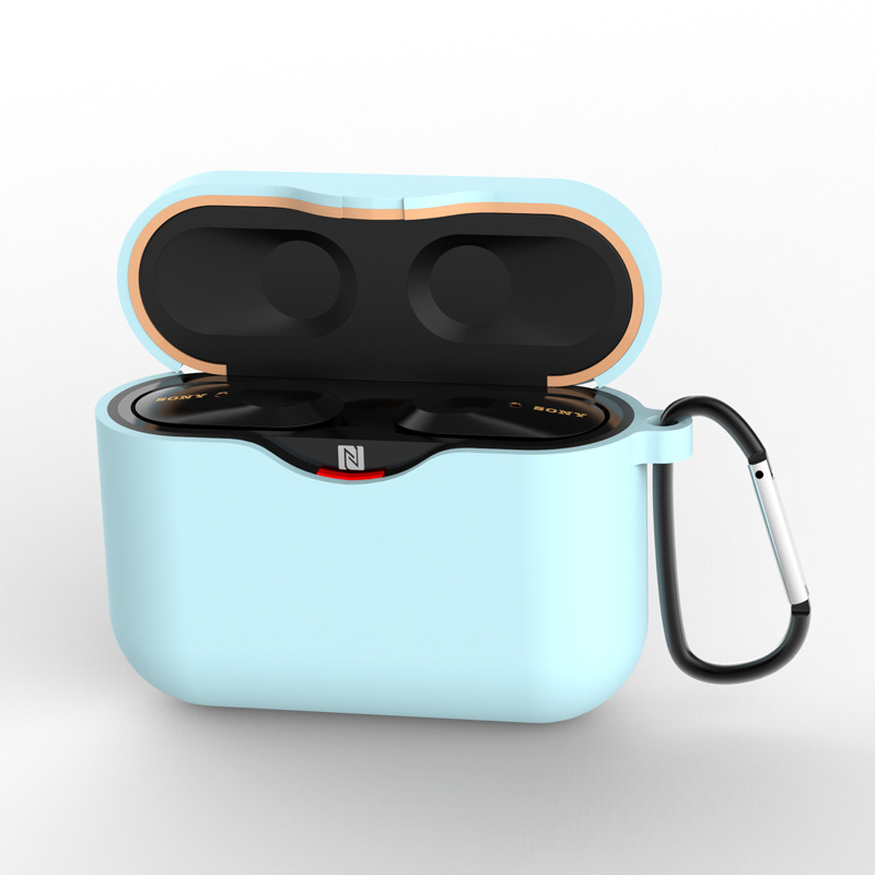 Silicone Case for SONY WF-1000XM3 Bluetooth Earphone Charging Box Cover Soft Shell with Anti-lost Hook blue_for SONY WF-1000XM3