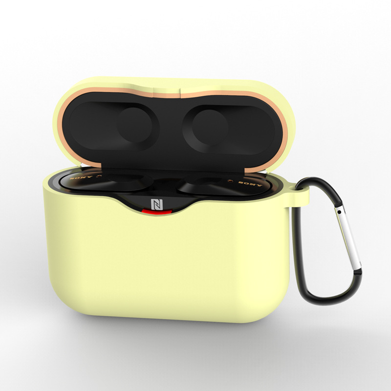 Silicone Case for SONY WF-1000XM3 Bluetooth Earphone Charging Box Cover Soft Shell with Anti-lost Hook yellow_for SONY WF-1000XM3