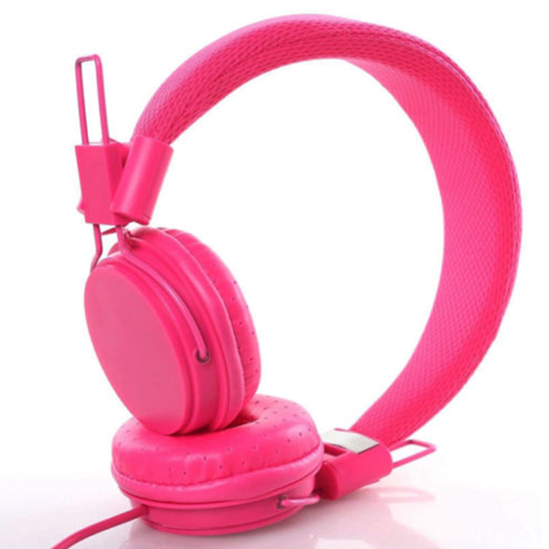 Kids Wired Ear Headphones Stylish Headband Earphones for iPad Tablet  Rose red
