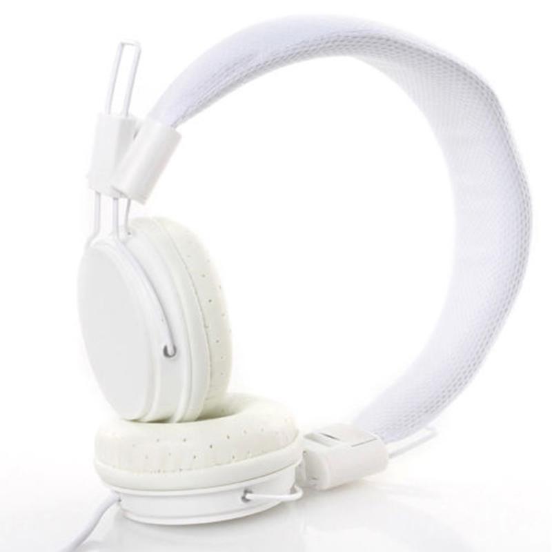 Kids Wired Ear Headphones Stylish Headband Earphones for iPad Tablet  white