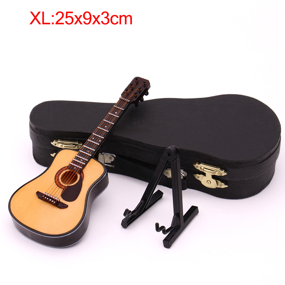 Mini Full Angle Folk Guitar Guitar Miniature Model Wooden Mini Musical Instrument Model Collection XL: 25CM_Acoustic guitar full angle