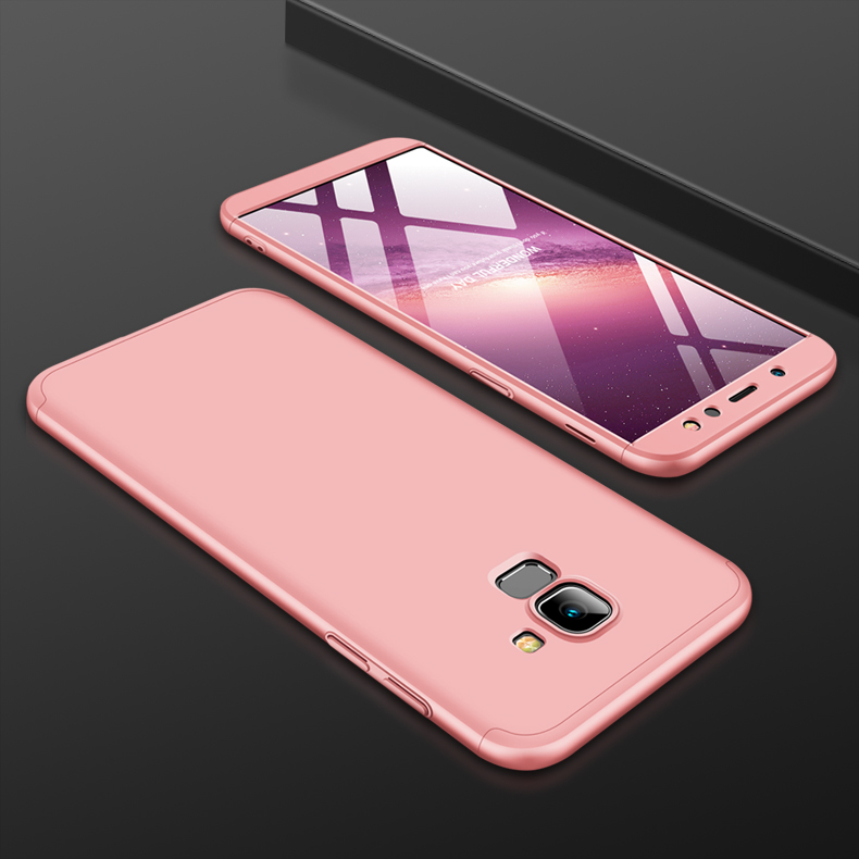 For Samsung A6 2018 360 Degree Protective Case Ultra Thin Hard Back Cover Rose gold