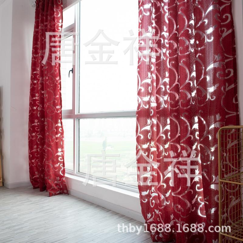 Pteris Flower Pattern Tulle Window Curtain for Living Room Bedroom Wine red_1*2.7 meters high