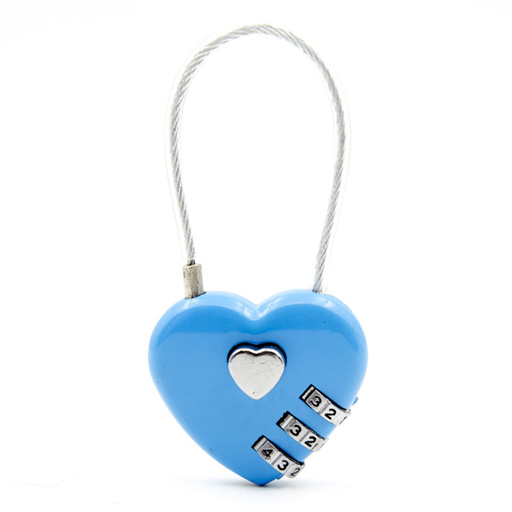 Bag Luggage Backpack Zinc Alloy Love Heart-shaped Simple Password Lock Combination Lock Padlock blue