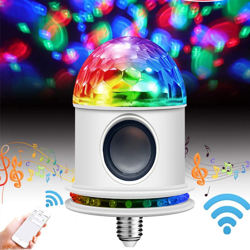 E27 Bluetooth RGB Stage Light LED 7 Colors Change Rotating Music Magic Disco Ball DJ Light Stage Effect Lighting Mushroom Sun Bluetooth Magic Ball + E27 Head
