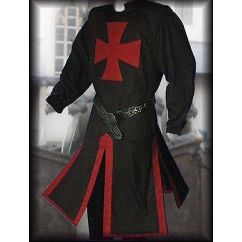 Men Knight Templar Costume for Halloween Party Stage Performance black_XXL