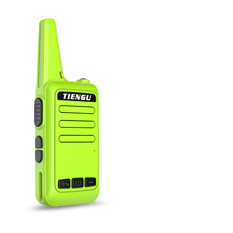 TIENGU Wireless Handheld Mini Ultra-thin Walkie Talkie FRS UHF Portable Radio Communicator Green EU plug