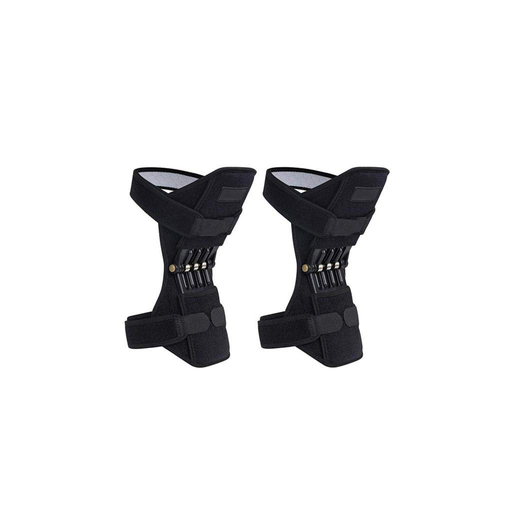 Lift Joint Support Knee Pads Powerful Rebound Spring Force Adjustable Bi-Directional Straps black_One size